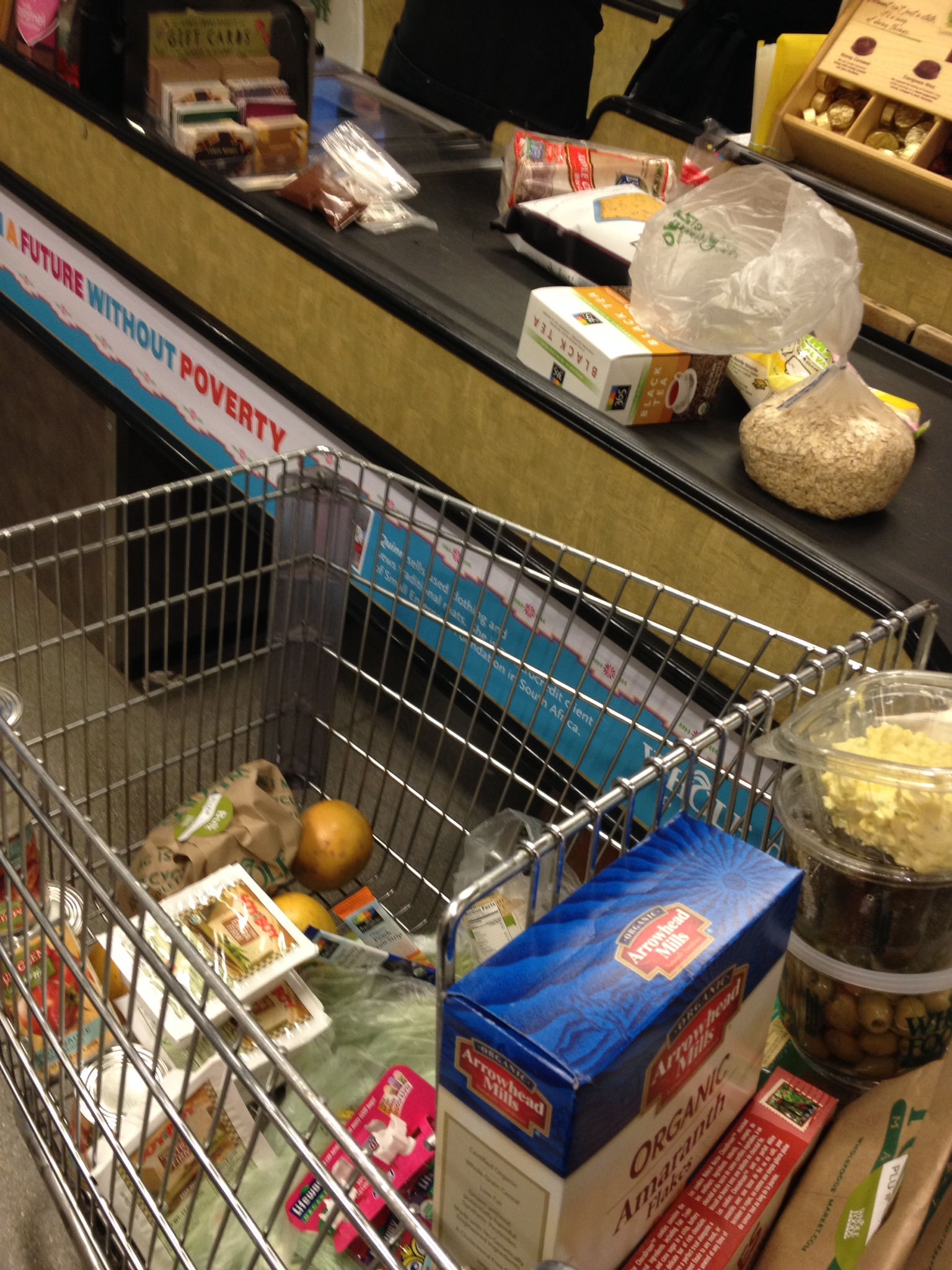 """My """"regular"""" shopping complete, I went to Whole Foods for fancy things like prepared snacks for school and bulk organic grains."""